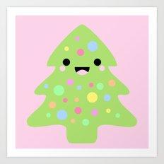 Happy Kawaii Christmas in Pink Art Print