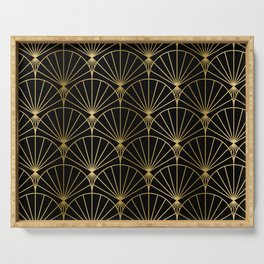 Black and gold art-deco geometric pattern Serving Tray