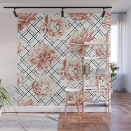 Rose Garden Vintage Rose Pink Cream White Mod Diamond Lattice Wall Mural