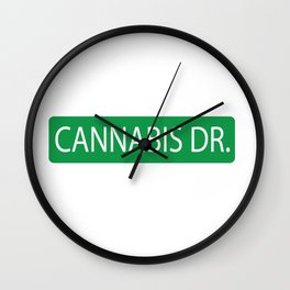 Cannabis Dr. Street Sign Wall Clock