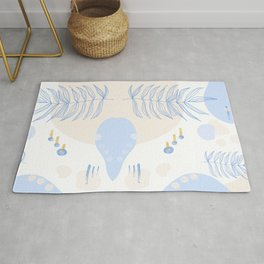 Abstract Shapes & Leaves in Sand Rug