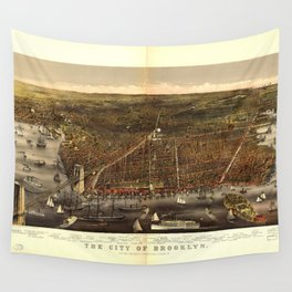 The City of Brooklyn, New York by Currier and Ives (1879) Wall Tapestry