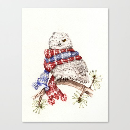Winking Arctic Owl in Scarf Canvas Print