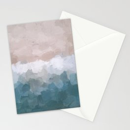 Turquoise Aqua Blue White Dusty Rose Pink Abstract Painting, Modern Wall Art Print, Ocean Sunset Sand Beach Aerial View Stationery Cards