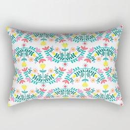 Folk Flowers White Rectangular Pillow