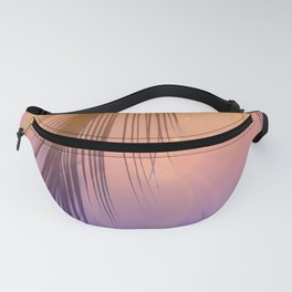 Palm Leaf Silhouette Orange Violet Background #decor #society6 #buyart Fanny Pack