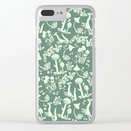 White mushrooms on green background Clear iPhone Case