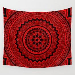 Red Mandala Wall Tapestry