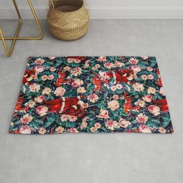 Santa Claus and Floral Pattern Rug