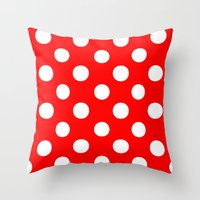 polka dots Throw Pillows featuring Polka Dots (White/Red) by 10813 Apparel
