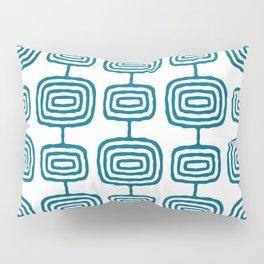 Mid Century Modern Atomic Rings Pattern Peacock Blue 3 Pillow Sham