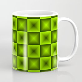 Chess tile of green rhombs and black strict triangles. Coffee Mug