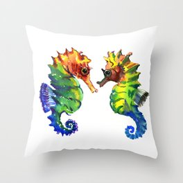 Seahorses, two animals rainbow colored art Throw Pillow