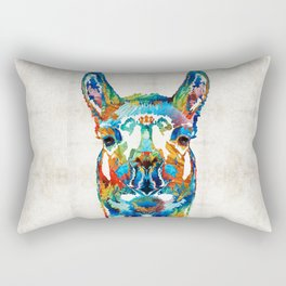 Colorful Llama Art - The Prince - By Sharon Cummings Rectangular Pillow