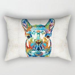 Colorful Llama Art - The Prince - By Sharon Cummings Rectangular Pillow