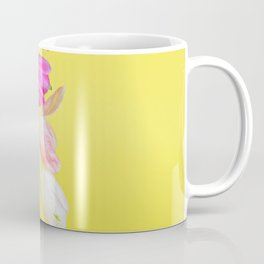 View to the easter tulips over yellow paper Coffee Mug