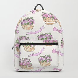 Watercolor . The flowers in the basket . Backpack