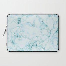 Aqua marine and white faux marble Laptop Sleeve