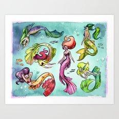 Watercolor Mermaids Art Print