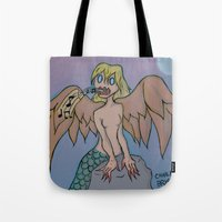 siren Tote Bags featuring Siren by Art Guy Charlie