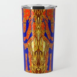 Lapis Blue Beetle on Gold Travel Mug