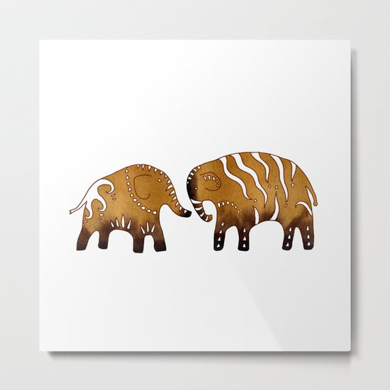 Gingerbread elephants Metal Print