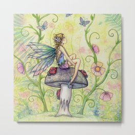 A Happy Place Flower Fairy Fantasy Art by Molly Harrison Metal Print