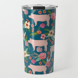 Pig florals farm homesteader pigs cute farms animals floral gifts Travel Mug