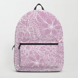 Modern trendy white floral lace hand drawn pattern on mauve pink lavender Backpack