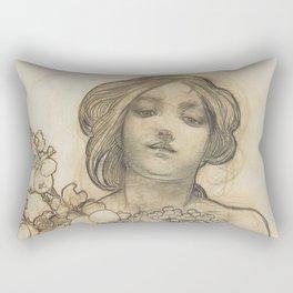 Sketch of an Art Nouveau lady by Alphonse Mucha Rectangular Pillow