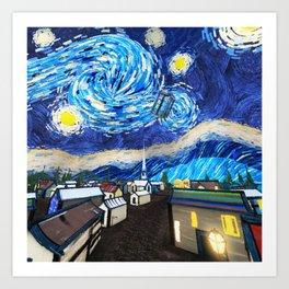 Tardis Art Starry City Night Art Print