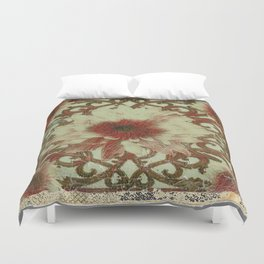 Grungy Floral Rustic Cream-Brown  Abstract Duvet Cover