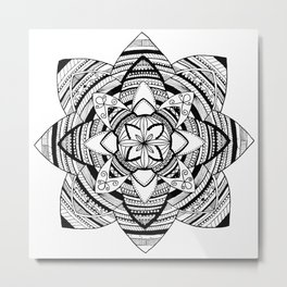 Wild black mandala on white Metal Print