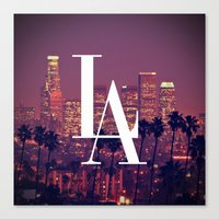 dodgers Canvas Prints featuring Downtown LA Vintage Skyline Typography by RexLambo