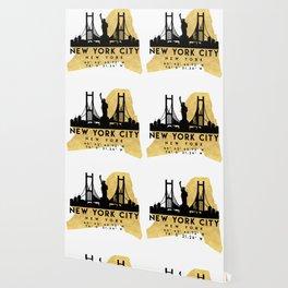 NEW YORK CITY NEW YORK SILHOUETTE SKYLINE MAP ART Wallpaper