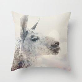 Alpaca in Machu Picchu Throw Pillow