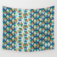 hexagon Wall Tapestries featuring Hexagon Triangles by SpareType
