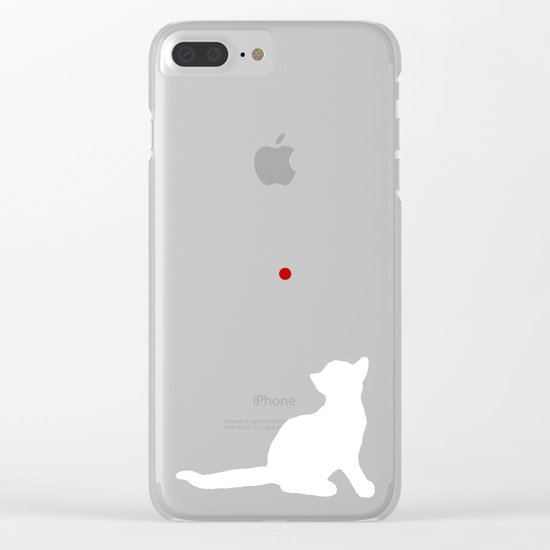 Cat and Laser Cute Minimalistic Animal Portrait Clear iPhone Case