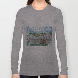Cartoon Map of Birmingham, Alabama Landmarks Long Sleeve T-shirt