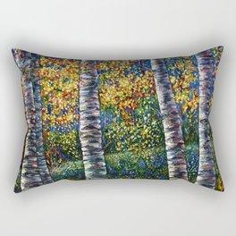 A Midsummer Dream Aspen Trees Palette Knife Painting  Rectangular Pillow
