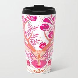 Floral Antlers – Peachy Pink Palette Metal Travel Mug