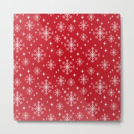 Snowflakes winter christmas minimal holiday red and white decor gifts Metal Print