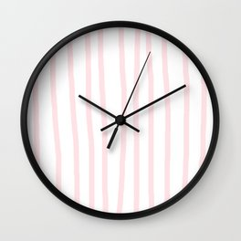 Simply Drawn Vertical Stripes in Flamingo Pink Wall Clock
