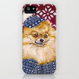 Pomeranian in a Hat and Scarf iPhone Case