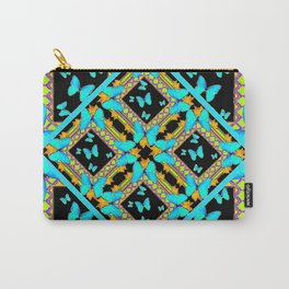 Decorative Western Style Turquoise Butterflies  Black Gold Patterns Carry-All Pouch