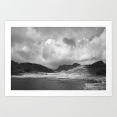 Blea Tarn with Langdale Pikes beyond. Cumbria, UK. Art Print