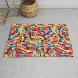 Neon Sour Gummy Worms Photo Pattern Rug