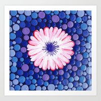Pink Flower Painting on Canvas Art Print