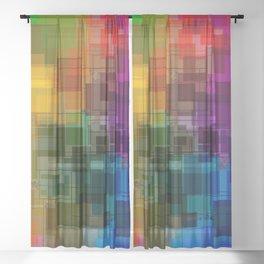 Vibrant Rainbow Geometric Pattern Sheer Curtain