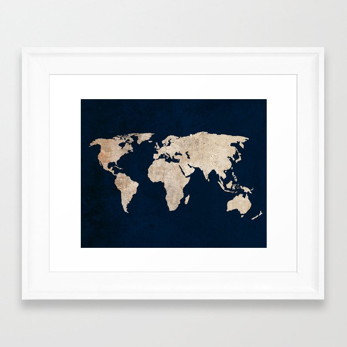 Inverted rustic world map framed art print by bysamantha society6 gumiabroncs Choice Image